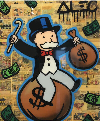 Alec Monopoly, 'Monopoly Sitting on money bag with cane', 2019