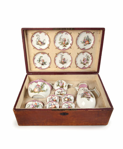 Porcelain, ' A Meissen Tea and coffee service in a later leather case', 1704-1774