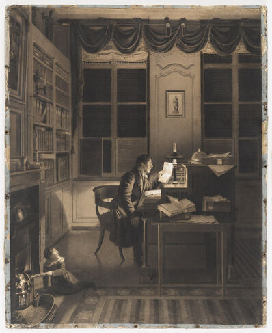 A. L. Leroy, 'Interior with a Man Reading at His Desk', 1827