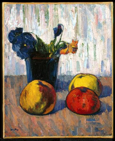 Pieter Goos, 'Still Life with Apples and Vase of Flowers', about 1890