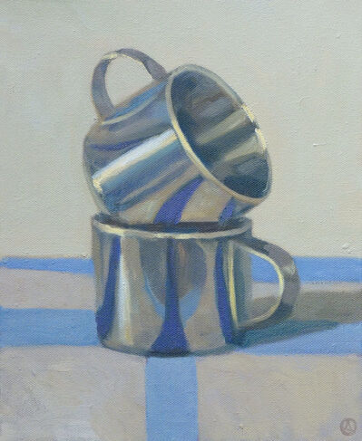 Olga Antonova, 'Two Cups on Blue Stripes', 2014