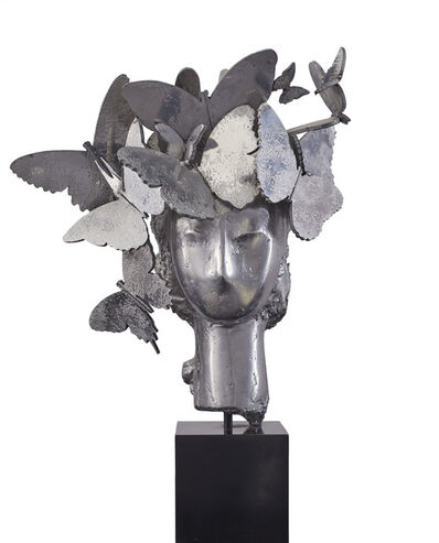 Manolo Valdés, 'Cabeza con tocado de mariposas'