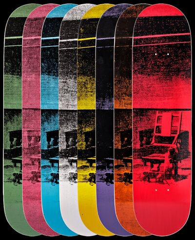 Andy Warhol, 'Gift Box Set of Eight (8) Limited Edition Colored Electric Chair Skateboard Decks ', ca. 2015