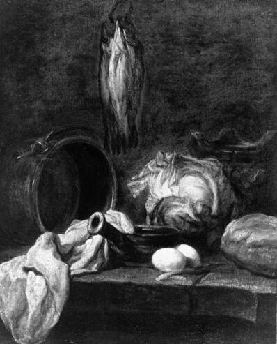 Jean-Siméon Chardin, 'Kitchen Utensils and Three Herrings or Whitings.', ca. 1729