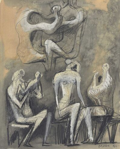 Henry Moore, 'Seated Figures (recto and verso)', 1950-1951