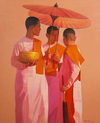 Pajonyut Puvijarn, 'Three women monks under a parasol ', 2017