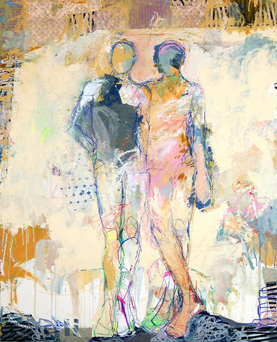 """Jylian Gustlin, '""""Sirens 1"""" Abstract Figurative mixed media painting in pastel colors, Drips and Lines', 2010-2018"""
