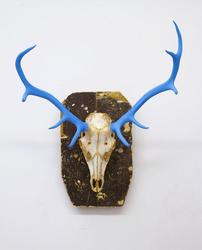 Tracy Lee Griffith, 'Huxley, original, authentic English stag, blue, gold leaf, signed, great reviews', 2017