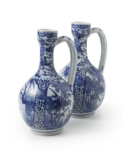 Porcelain, 'A pair of Arita wine jugs', 17th century