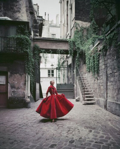 Mark Shaw, 'Courtyard Chanel Red Velvet Dinner Dress, Paris', 1955