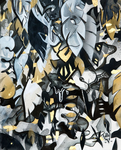 Elle, 'Black and Gold Abstract Jungle ', 2015