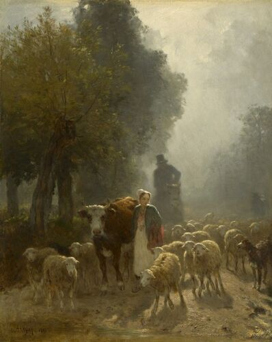 Constant Troyon, 'Going to Market on a Misty Morning', 1851