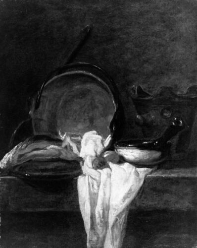 Jean-Siméon Chardin, 'Cooking Pots and Ladle with a White Cloth', ca. 1729