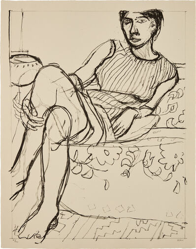 Richard Diebenkorn, 'Seated Woman in a Striped Dress, from Seated Woman series', 1965