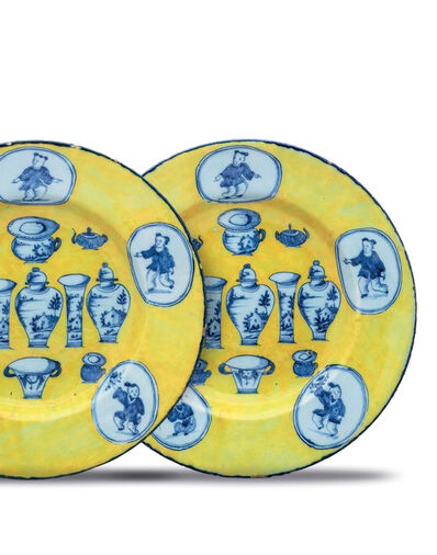 Delftware, 'Pair of Yellow-Ground Dishes', ca. 1765