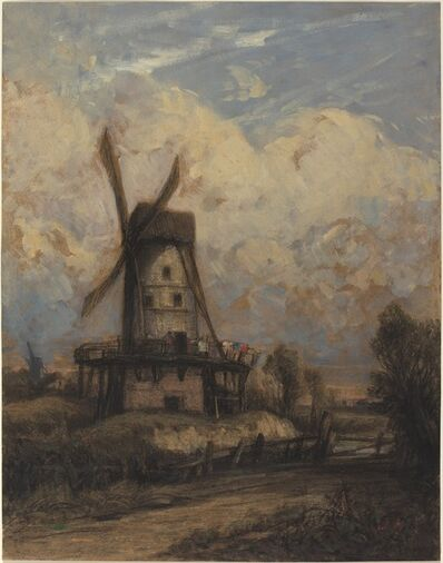 Constant Troyon, 'A Windmill against a Cloudy Sky', 1845/1850