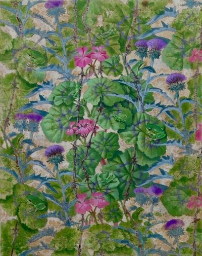 Alain Vaes, 'Geranium and Thistle, Grasshoppers and Frogs'