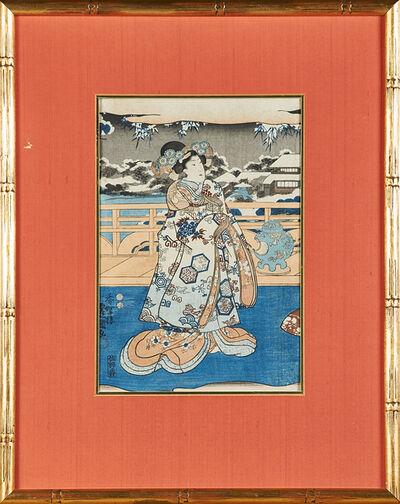"""Utagawa Kunisada II, '""""Scene from Inaka Genji"""" from the series Eastern Magic Lantern Slides in Edo Purple (Edo Murasaki Azuma no utsushi-e)', 1847-52"""