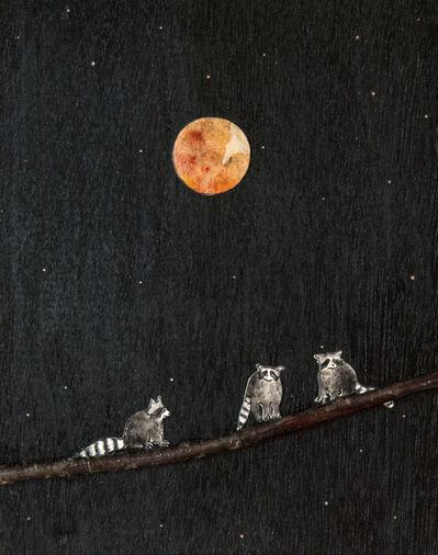 Ashley Anne Clark, 'Raccoon Friends Under Harvest Moon', 2018