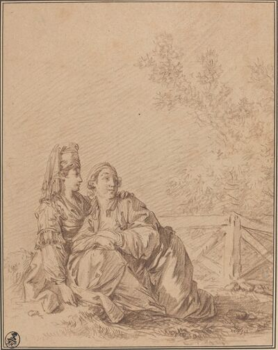 Jean-Baptiste Le Prince, 'Two Russians Seated in Landscape'