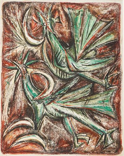 Luis Martinez Pedro, 'Cuatro Lunas y Dos Pájaros Verdes', 1946