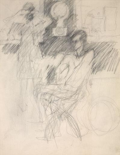 Elaine de Kooning, 'Frank O'Hara in George Segal's Studio, Woman Looking in a Mirror', 1970