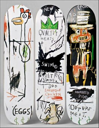 Jean-Michel Basquiat, 'Quality Meats for the Public Triptych (Set of Three Skateboards with wall hanging mounts)', 2014