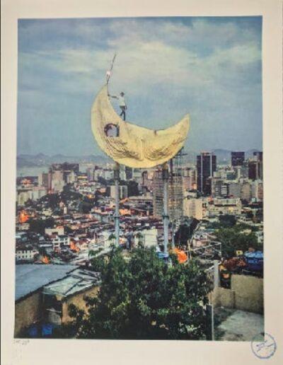 JR, 'Casa Amarela, JR on the moon, Favela Morro da Providência, Rio de Janeiro, Brazil', 2017