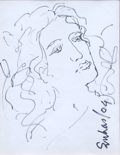 Suhas Roy, 'Radha, Drawing in Ink on paper by Indian Modernist Suhas Roy', 2004