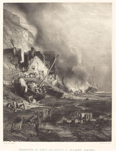 Eugène Isabey, 'Radoub d'une Barque à la Marée Basse (Refitting of a Ship at Low Tide)', 1833