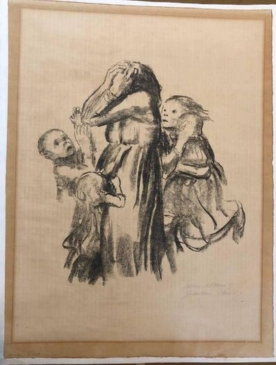 Käthe Kollwitz, 'Killed in Action 'Gefallen' Grieving Family Original Lithograph', 1920-1929