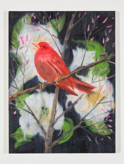 Ann Craven, 'Portrait of a Red Bird (Picabia Bird on Black), 2018', 2018