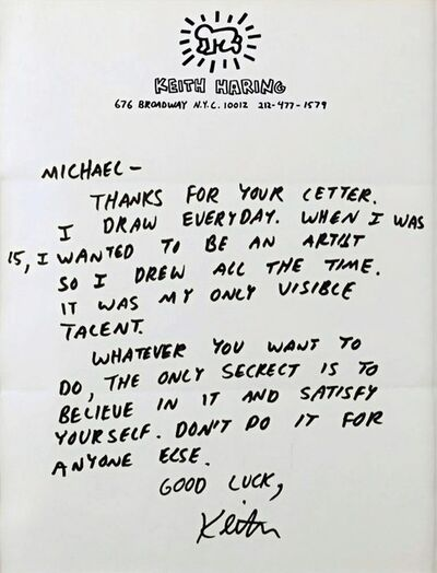 """Keith Haring, '""""...WHEN I WAS 15, I WANTED TO BE AN ARTIST....""""  Advice to an Aspiring Young Artist...', ca. 1987"""