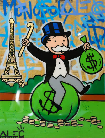 Alec Monopoly, 'Monopoly on $ Bag Eiffel Tower Graffiti ', 2018