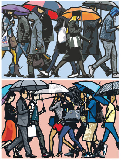Julian Opie, 'Walking in the Rain (Seoul and London)', 2015