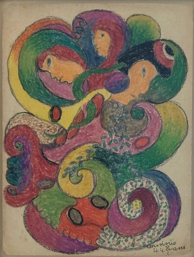 Minnie Evans, 'Untitled (Three Faces)', 1944