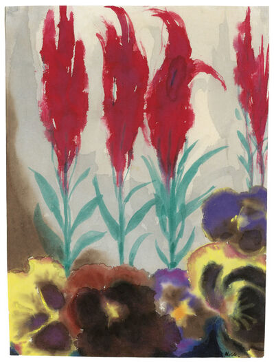 Emil Nolde, 'Pansies and plumed cockscomb', 1930