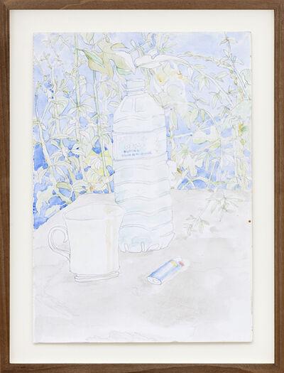 Federico Tosi, 'Natura morta con bottiglia blu, accendino blu e cielo azzurro', 2017