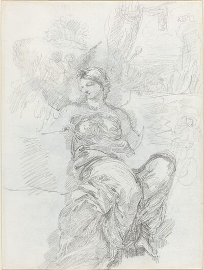 Anicet-Charles-Gabriel Lemonnier, 'Seated Angel in a Landscape [recto]'