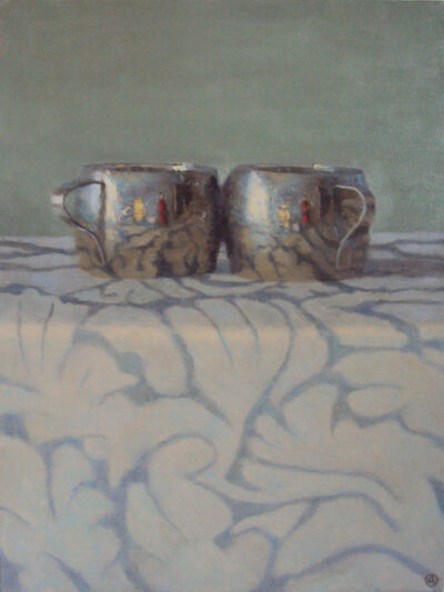 Olga Antonova, 'Silver Cups On Patterned Cloth', 2015