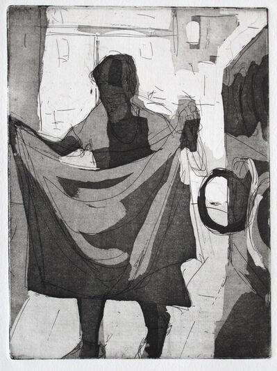 Dena Schutzer, 'Laundromat, Woman walking and folding', 2017