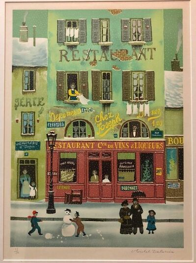 Michel Delacroix, 'Hand signed Folk Art Naive lithograph on Arches Paper Paris Snowman Scene', 20th Century
