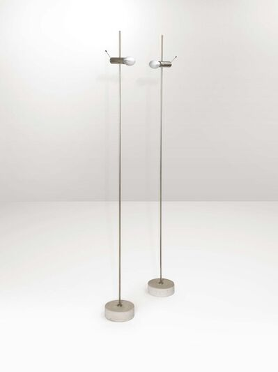 Tito Agnoli, 'A pair of mod. 387 floor lamps with a travertine base and chromed brass structure', 1954