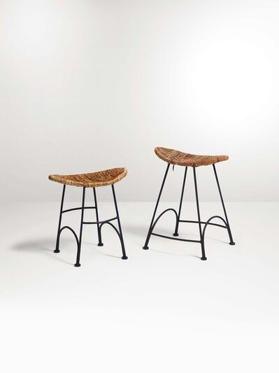 Tom Dixon, 'Two stools from the Banana Chairs series with a lacquered metal structure and straw seats', 1980 ca.