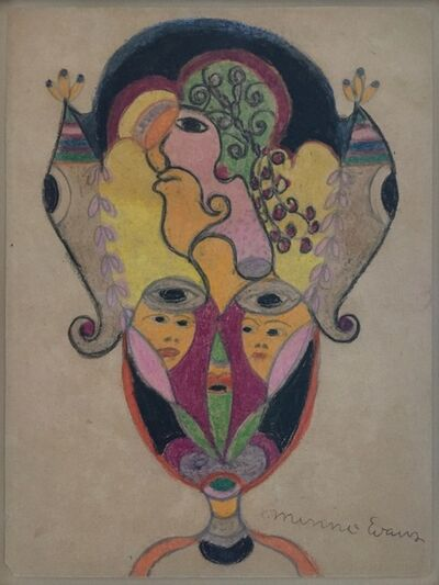Minnie Evans, 'Untitled (Vase with Two Women's Faces, Larger Face Above, Two Eyes)'
