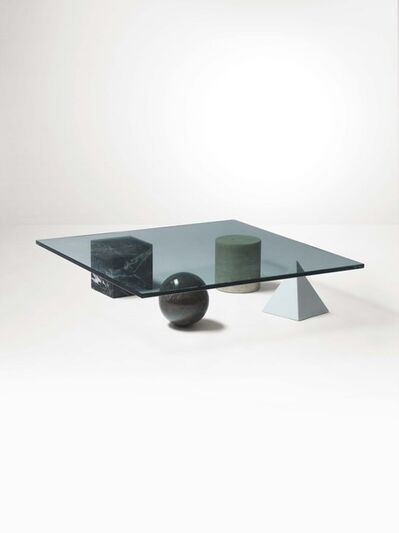 Massimo Vignelli and Lella Vignelli, 'A low table with marble stands and a glass top', 1979