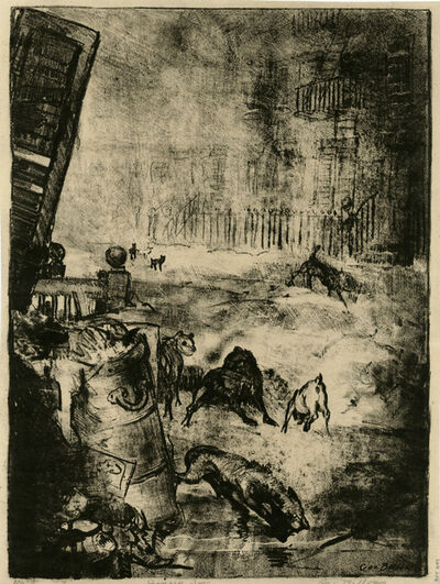 George Wesley Bellows, 'Hungry Dogs, First Stone', 1916