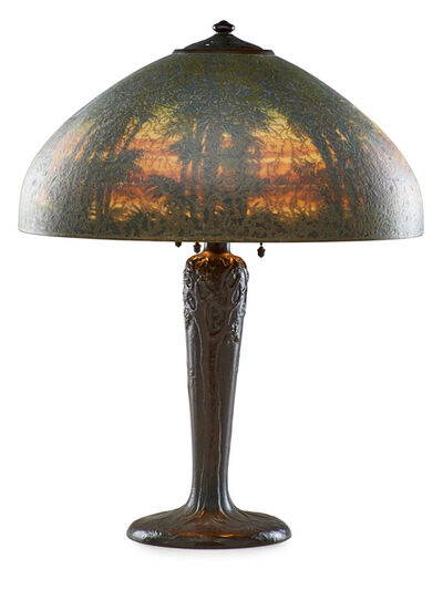 Handel, 'Table lamp with palm tree shade', des. 1914