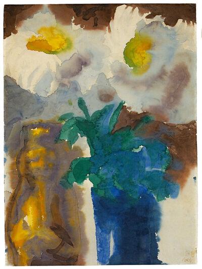 Emil Nolde, 'Stilleben mit Blumen und Barock-Figur', 1930