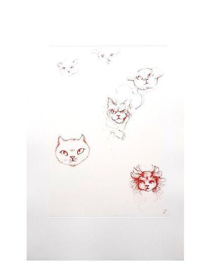 Leonor Fini, 'Leonor Fini - Red Cats - Original Engraving', 1985